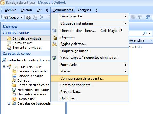 Imagen 1 - Cómo configurar correo en Outlook 2007