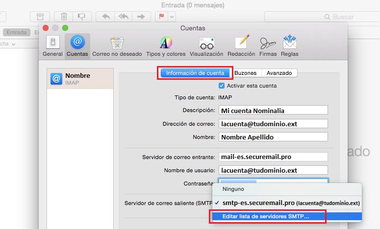 rellenar información cuenta de correo IMAP