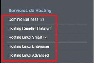 Vista de alojamientos Linux en panel de control de nominalia