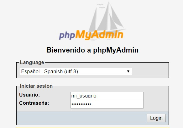 intriducir usuario y contraseña de una base de datos en phpmyadmin