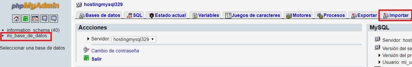 importación de database en hosting linux de Nominalia
