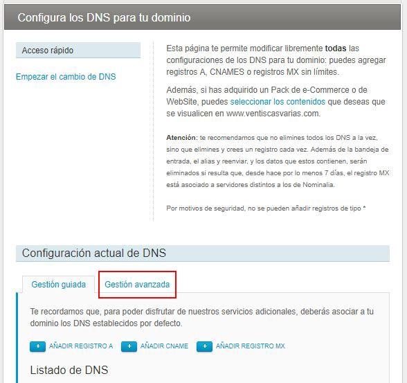 Configurar DNS de un dominio