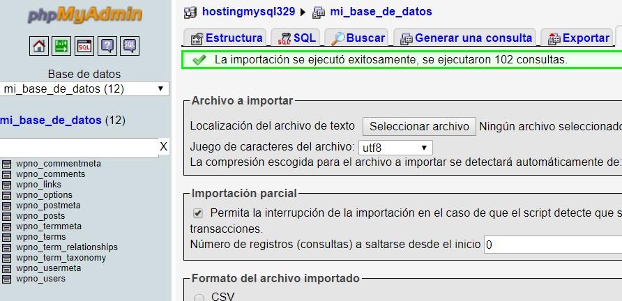 subir base de datos al hosting