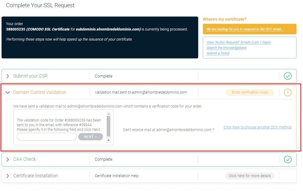 SSL validación dominio