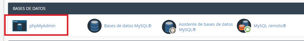 administrar base de datos phpmyadmin