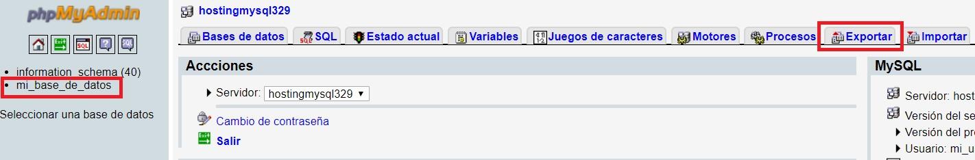 Exportación de base de datos MySQL
