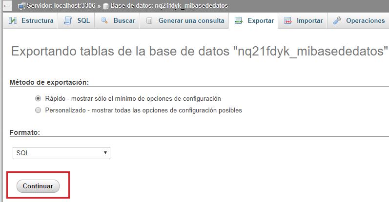 Bajar base de datos desde hosting a ordenador