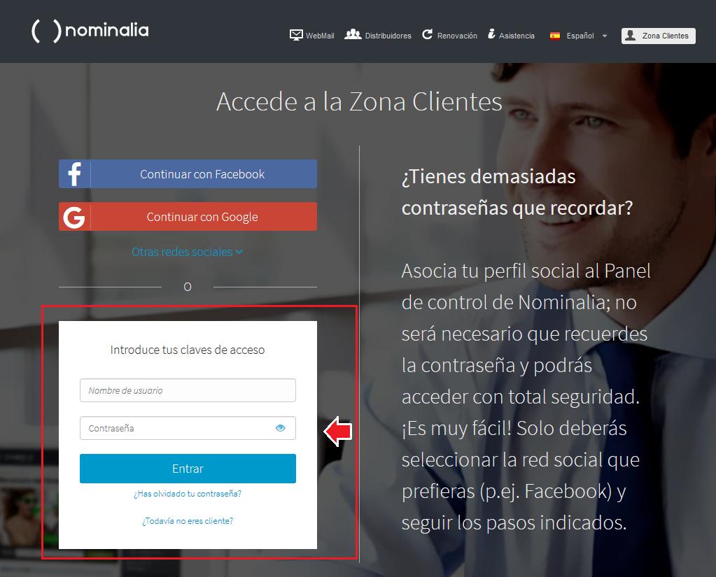 acceso zona cliente