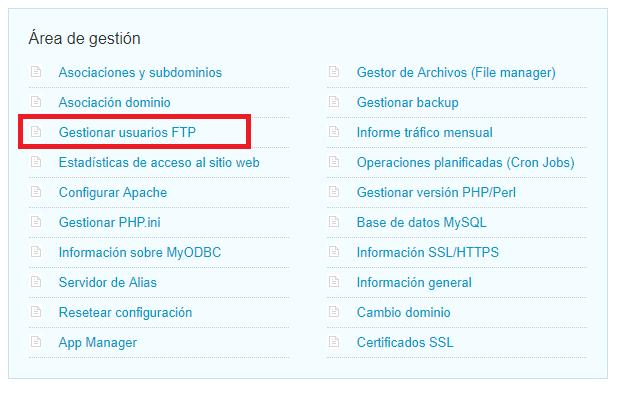 Crear cuenta ftp en hosting de Nominalia