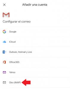 Añadir imap gmail