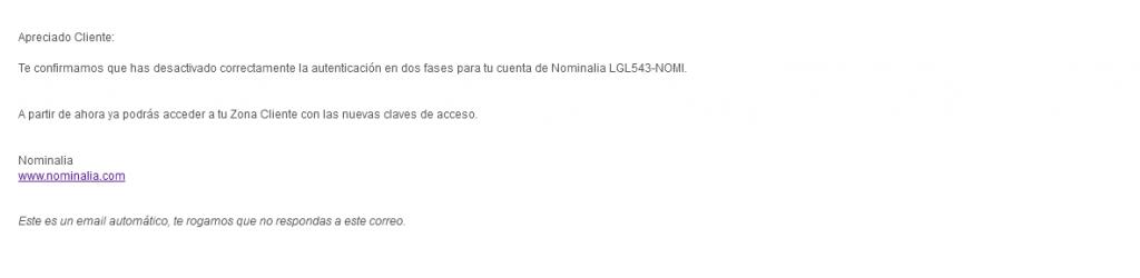 2FA email desactivacion