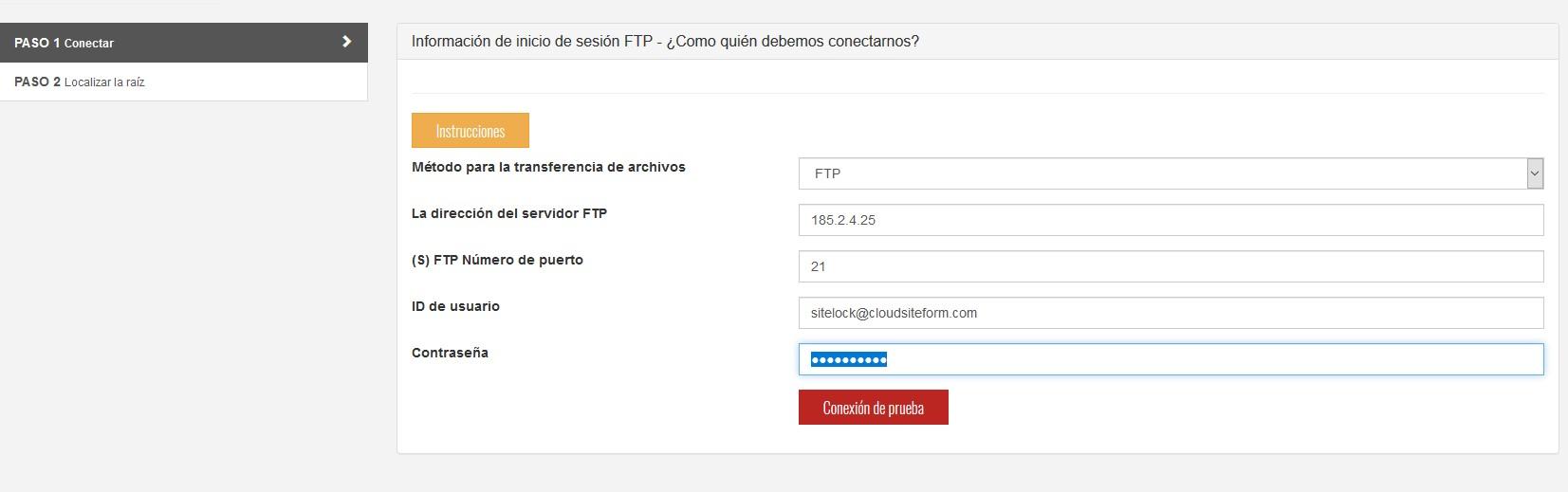 sitelock configuracion