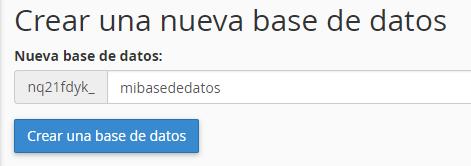 base de datos mysql en cpanel