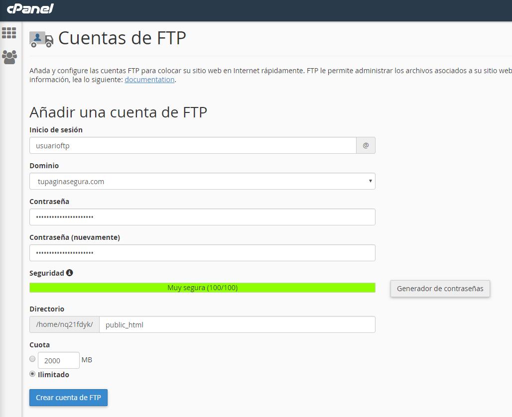 Añadir cuentas ftp en cpanel
