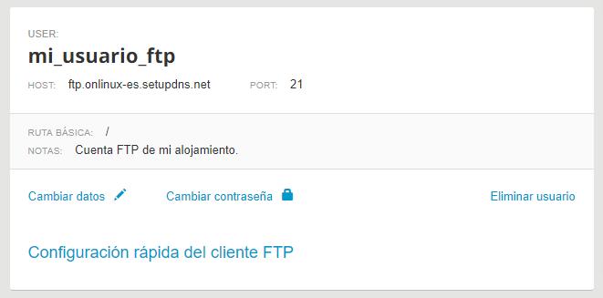 Configuración rápida FTP