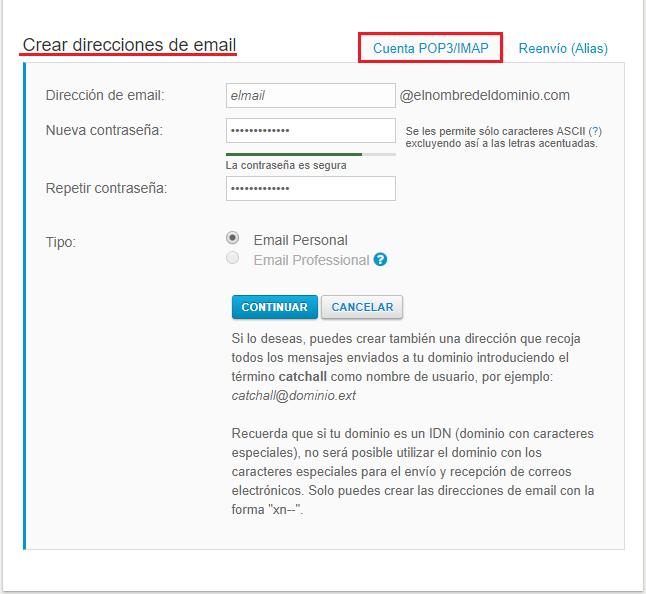cuenta POP3/IMAP