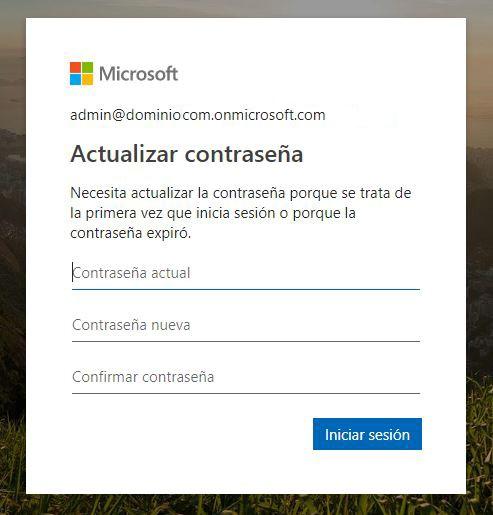 Cambiar contraseña cuenta Office 365