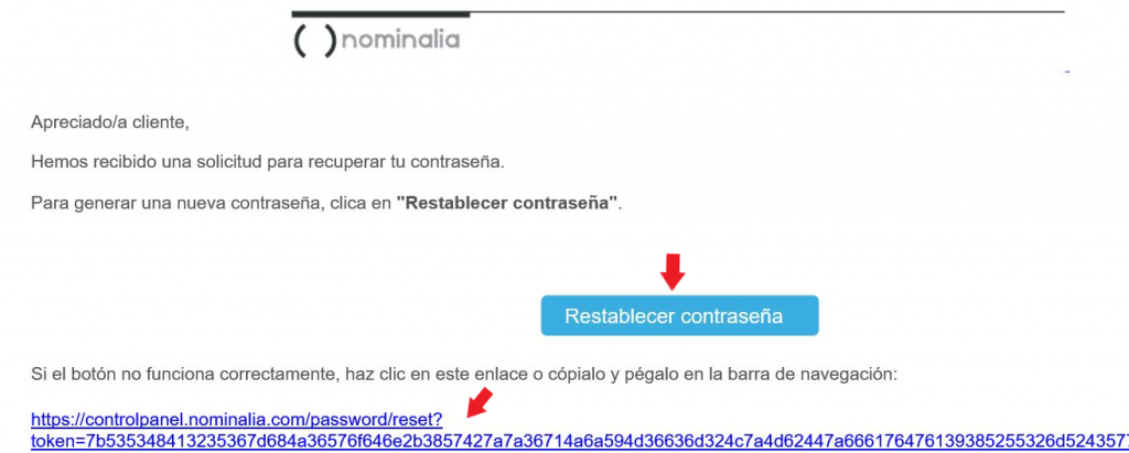 email restablecer