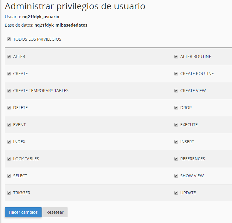 asignar privilegios a usuario base de datos