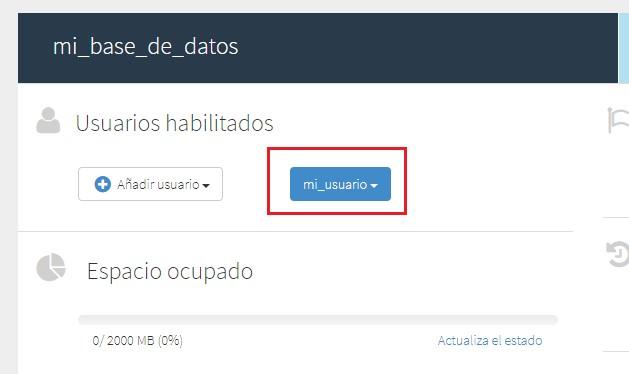 usuario creado en database