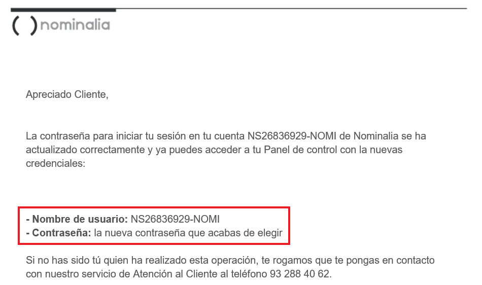 email restablecimiento