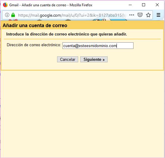 Imagen 3 - Configurar una cuenta de correo de Nominalia en Gmail - Añadir