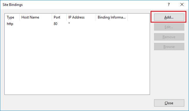 Imagen 10 - Cómo instalar un certificado SSL en Windows Server 2016 Agregar HTTPS