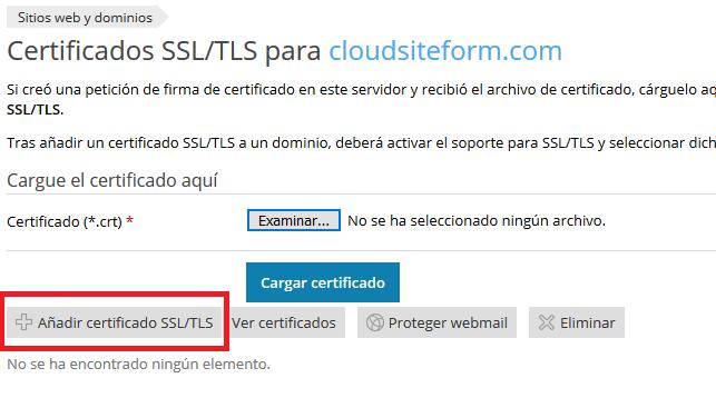 Imagen 2 - Cómo instalar un certificado SSL en Plesk Onyx - Agregar SSL o TLS