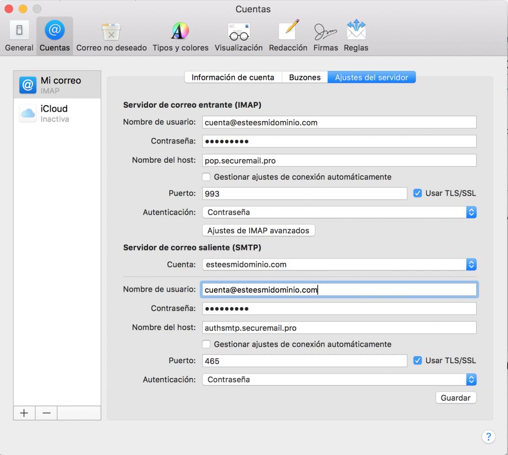 Imagen 9 - Configurar un correo en Mail de Mac OS High Sierra y Mojave Ajustes del servidor