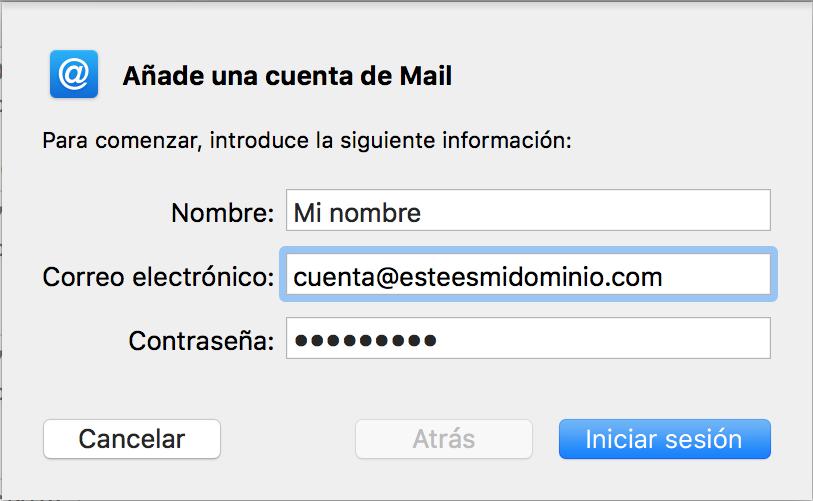 Imagen 3 - Configurar un correo en Mail de Mac OS High Sierra y Mojave Añade una cuenta