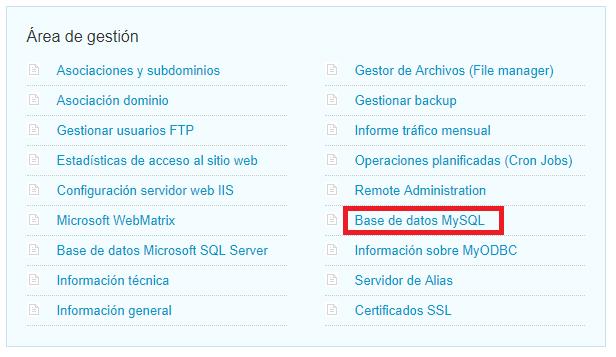 Imagen 2 - Cómo crear una base de datos MySQL - Área de gestión