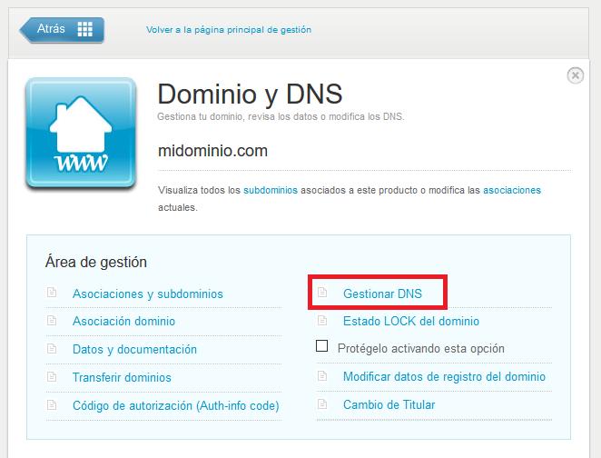 Gestionar DNS en Nominalia