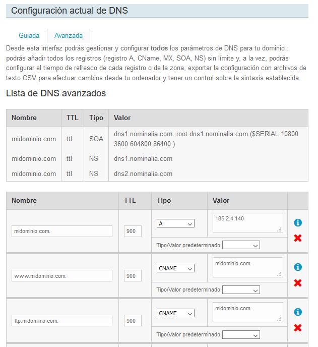 Configurar DNS en el panel de Nominalia