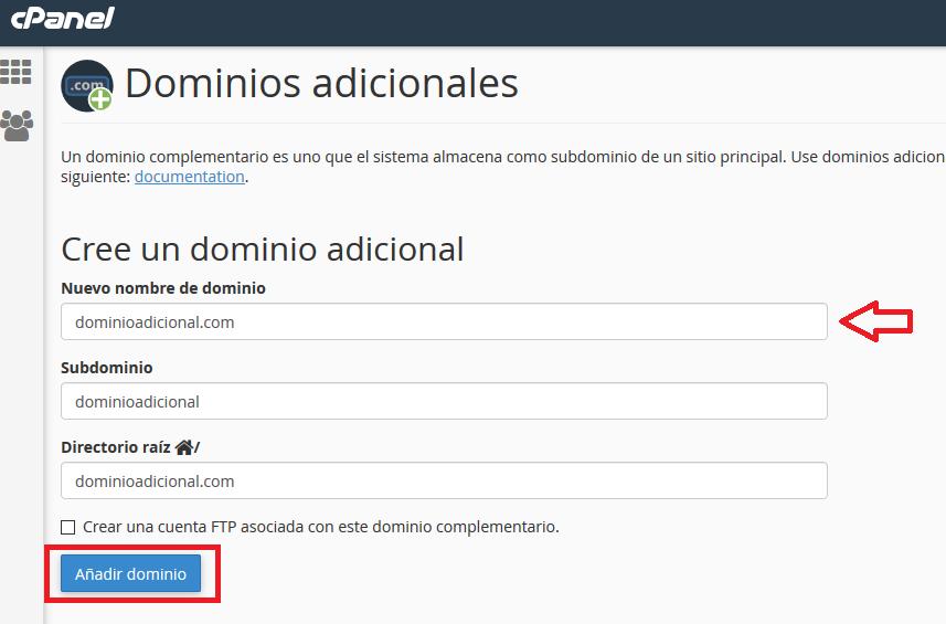 Añadir dominios en cpanel