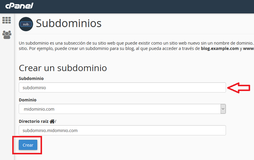 Crear subdominios en hosting cpanel