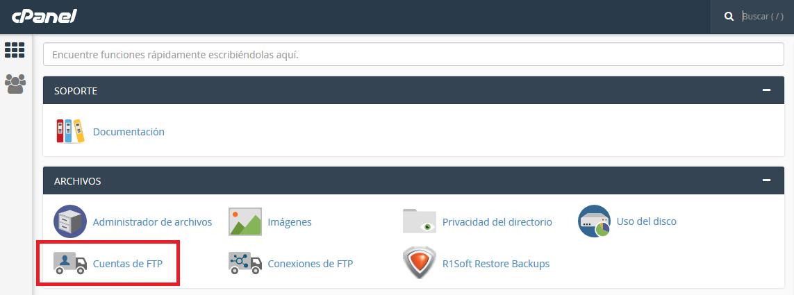 Configurar FTP en Cpanel