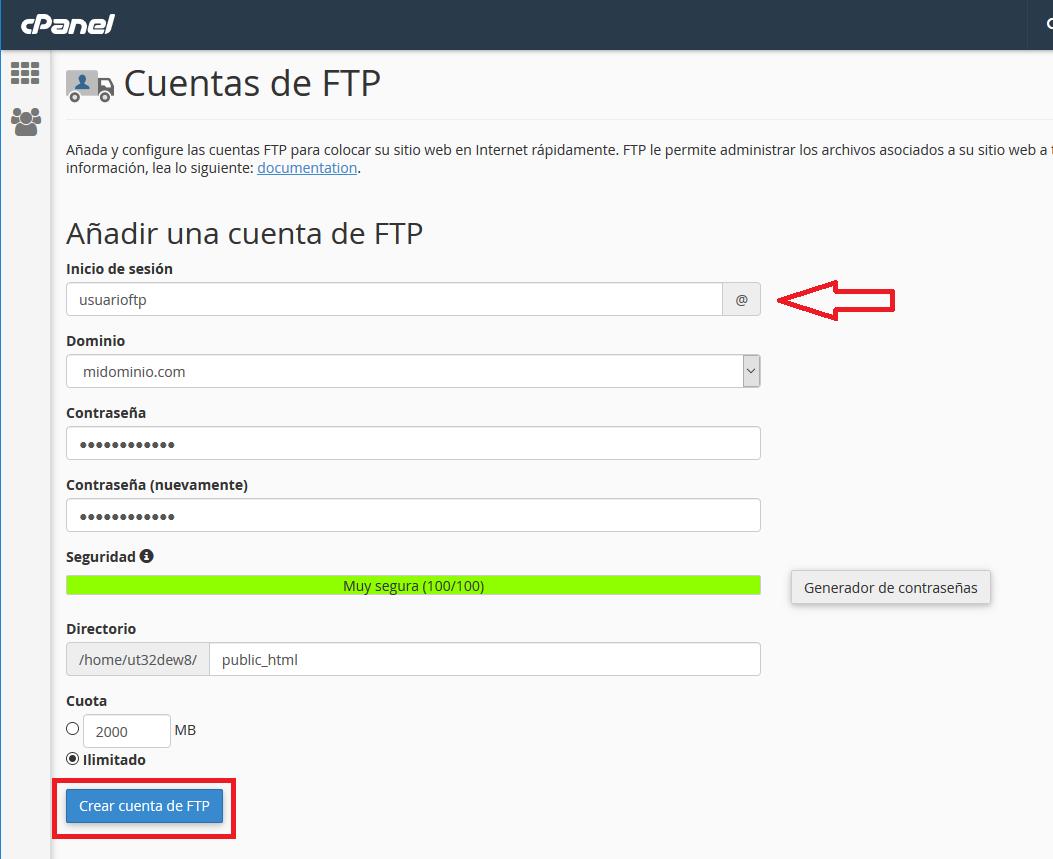 Crear cuenta FTP en panel Cpanel