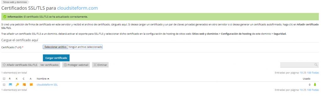 Imagen 9 - Cómo instalar un certificado SSL en Plesk Onyx - Instalado