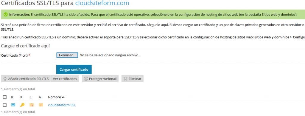 Imagen 4 - Cómo instalar un certificado SSL en Plesk Onyx - Certificados SSL TLS