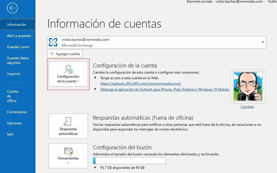 cómo reconfigurar cuenta email en Outlook 2013
