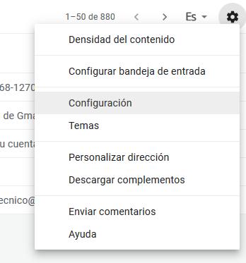 Imagen 1 - Configurar una cuenta de correo de Nominalia en Gmail - Configuración