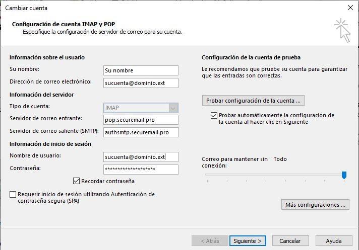 Instrucciones para configuración de Outlook 2013