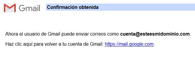 Imagen 11 - Configurar una cuenta de correo de Nominalia en Gmail - Confirmación 2