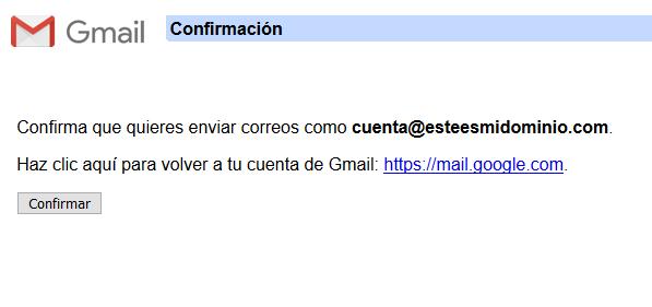 Imagen 10 - Configurar una cuenta de correo de Nominalia en Gmail - Confirmación 1