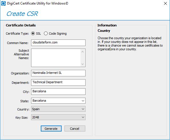 Imagen 2 - Cómo instalar un certificado SSL en Windows Server 2016 Crear CSR en DigiCert