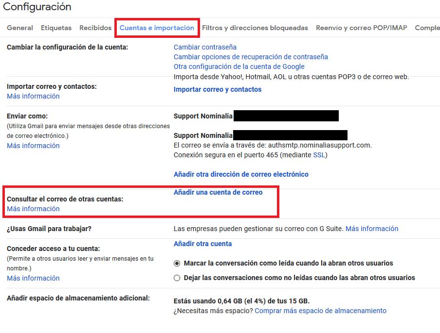 Imagen 2 - Configurar una cuenta de correo de Nominalia en Gmail - Cuentas e importación