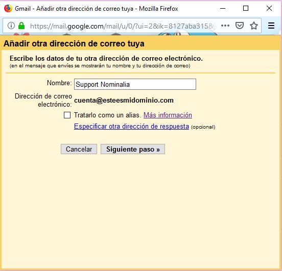 Imagen 7 - Configurar una cuenta de correo de Nominalia en Gmail - Datos dirección