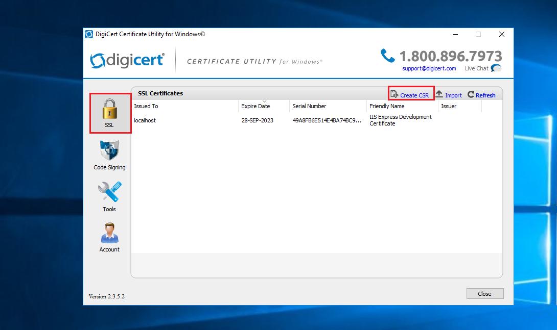 Imagen 1 - Cómo instalar un certificado SSL en Windows Server 2016 DigiCert Utility