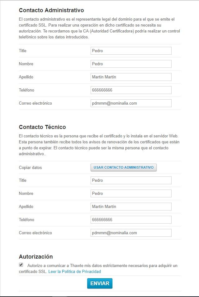 Contacto Administrativo y tecnico