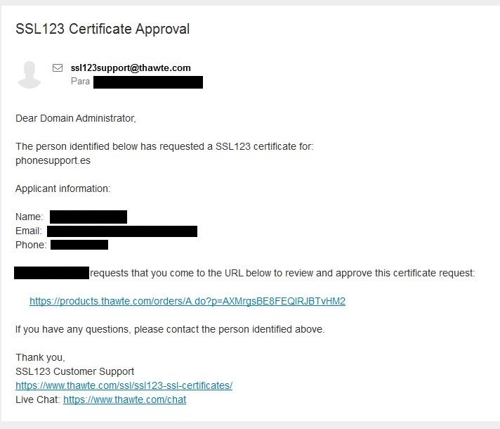 Email verificación Thawte